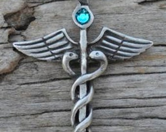 Pewter Caduceus Medical Nurse RN DR Snake Rod Pendant with Swarovski Crystal Blue Topaz DECEMBER Birthstone (35A)