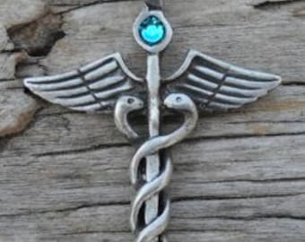 Pewter Caduceus Medical Nurse RN DR Snake Rod Pendant with Swarovski Crystal Blue Topaz DECEMBER Birthstone (35A)