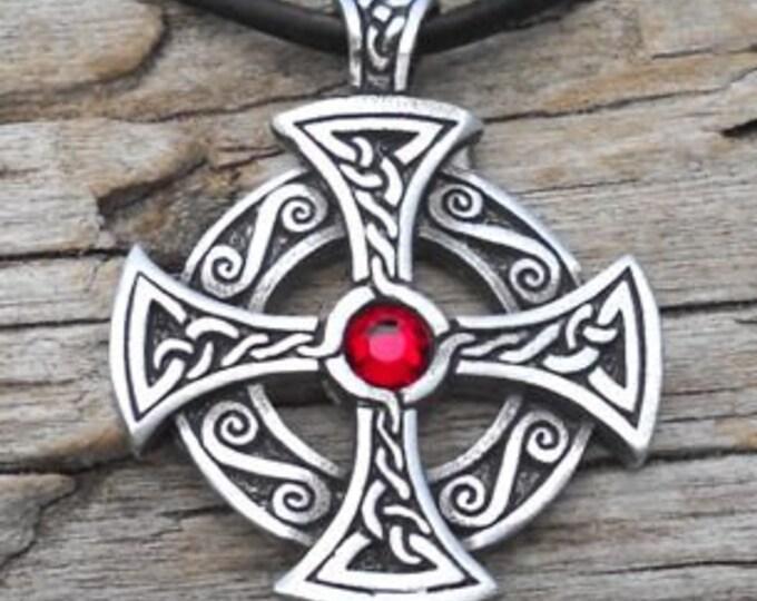 Featured listing image: Pewter Solar Cross Swarovski Crystal Celtic Druid Irish Red Garnet JANUARY Birthstone Pendant (25B)