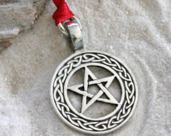 Pewter Pentagram Celtic Knot Pagan Wiccan Pentacle Christmas Ornament and Holiday Decoration (20I)