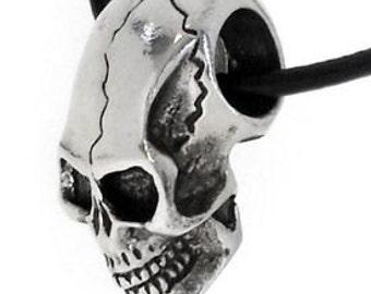 Pewter Skull Gothic Biker Pirate 3-D Pendant (22B)