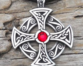 Pewter SOLAR CROSS Swarovski Crystal Celtic Druid Irish Ruby Red JULY Birthstone Pendant