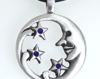 Pewter Moon Face and Stars Lunar Celestial Pagan Pendant with Swarovski Crystal Sapphire Blue SEPTEMBER Birthstone (39E)