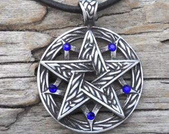 Pewter Double Pentagram Celtic Pagan Pentacle Pendant with Swarovski Crystal Sapphire Blue SEPTEMBER Birthstone (56I)