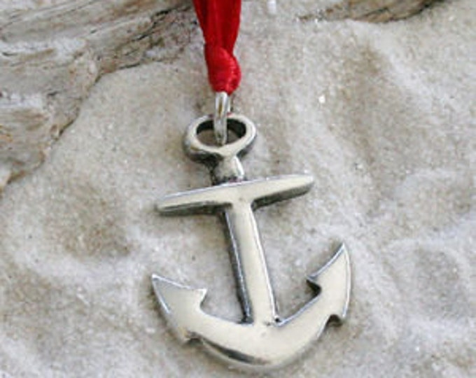 Featured listing image: Pewter Anchor Nautical Navy Christian Christmas Ornament and Holiday Decoration (39G)