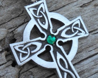 Pewter Celtic Cross Irish Wales Pendant with Swarovski Crystal Emerald Green MAY Birthstone (300)
