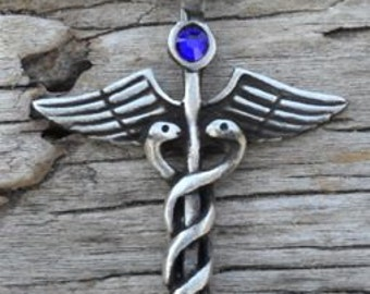 Pewter Caduceus Medical Nurse RN DR Snake Rod Pendant with Swarovski Crystal Sapphire SEPTEMBER Birthstone (35A)