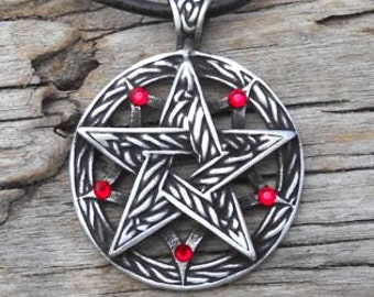 Pewter Double Pentagram Celtic Pagan Pentacle Pendant with Swarovski Crystal Ruby Red JULY Birthstone (56I)