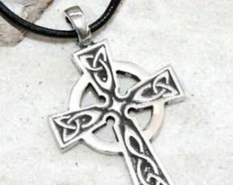 Pewter Celtic Cross Irish Wales Scotland England UK Pendant (300)