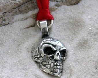 Pewter Skull Tribal Maori Silver Christmas Ornament and Holiday Decoration (21H)
