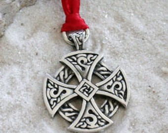 Pewter Solar Cross Celtic Knots Irish Druid Pagan Christmas Ornament and Holiday Decoration (56H)