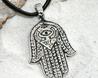 Pewter Hamsa Hand Egyptian Eye of Good Luck Fortune Love Health Pendant (301)