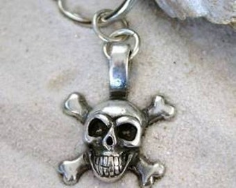 Pewter Skull and Crossbones Pirate Biker Gothic Keychain Key Ring (21G)