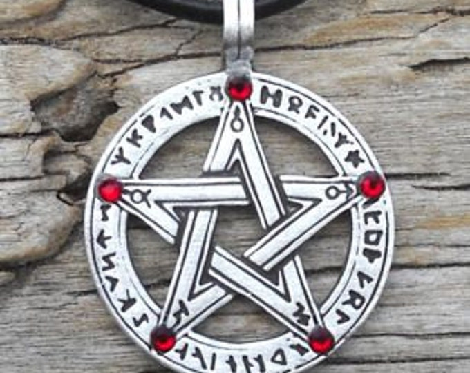 Featured listing image: Pewter Pentagram Swarovski Crystal Pendant, Pagan Wiccan Pentacle with Runes and Red Garnet JANUARY Birthstone (50G)