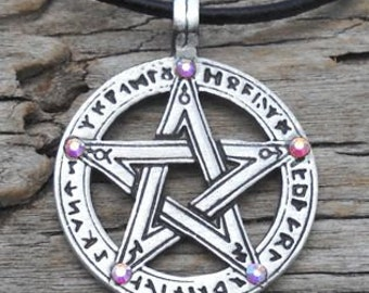 Pewter Pentagram Swarovski Crystal Pendant, Pagan Wiccan Pentacle with Runes and Aurora Borealis APRIL Birthstone (50G)