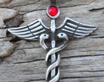 Pewter Caduceus Medical Nurse RN DR Snake Rod Pendant with Swarovski Crystal Ruby Red JULY Birthstone (35A)