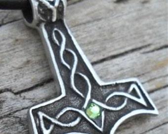 Pewter Thor's Hammer Mjolnir Norse Viking Pendant with Swarovski Crystal Peridot AUGUST Birthstone (39K)