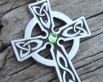 Pewter Celtic Cross Irish Wales Pendant with Swarovski Crystal Peridot AUGUST Birthstone (300)