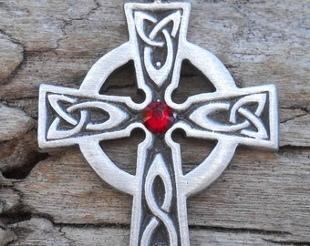 Pewter Celtic Cross Irish Wales Pendant with Swarovski Crystal Red Garnet JANUARY Birthstone (300)