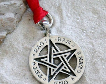 Pewter Pentagram Pagan Pentacle Tetragrammaton Runes Christmas Ornament and Holiday Decoration (55H)