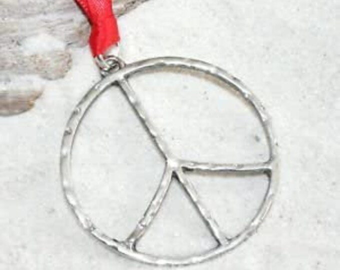 Featured listing image: Hammered Pewter Peace Sign Love Hippie Yoga Christmas Ornament and Holiday Decoration (57G)