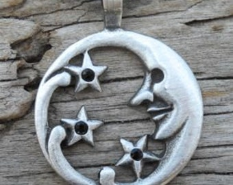 Pewter Moon Face and Stars Lunar Celestial Pagan Pendant with BLACK Onyx Swarovski Crystal (39E)