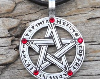 Pewter Pentagram Swarovski Crystal Pendant, Pagan Wiccan Pentacle with Runes and Ruby Red JULY Birthstone (50G)