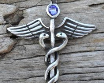 Pewter Caduceus Medical Nurse RN DR Snake Rod Pendant with Swarovski Crystal Lavender Tanzanite JUNE Birthstone (35A)