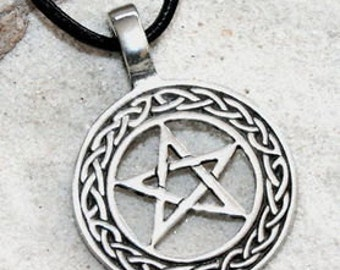 Pewter Pentagram Celtic Knot Pagan Wiccan Pentacle Pendent (20I)