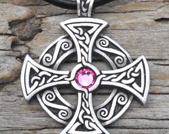 Pewter SOLAR CROSS Swarovski Crystal Celtic Druid Irish Pink Tourmaline OCTOBER Birthstone Pendant
