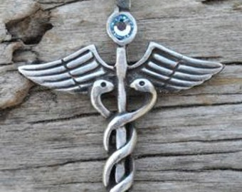 Pewter Caduceus Medical Nurse RN DR Snake Rod Pendant with Swarovski Crystal Aquamarine MARCH Birthstone (35A)