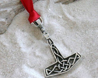 Pewter Thor's Hammer Mjolnir Norse Viking Christmas Ornament and Holiday Decoration (23A)