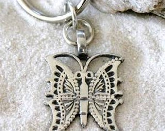 Pewter Butterfly Filigree Pendant on Leather Necklace (22D)