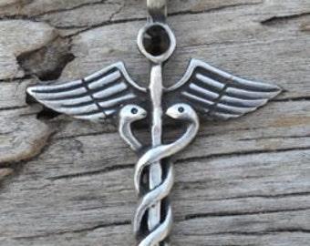 Pewter Caduceus Medical Nurse RN DR Snake Rod Pendant with Black Onyx Swarovski Crystal (35A)