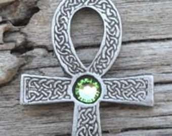 Pewter Ankh Egyptian Cross with Celtic Knots Pendant with Swarovski Crystal Peridot AUGUST Birthstone (31G)