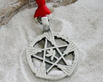 Pewter Witch Broom Pentagram Pagan Wiccan Pentacle Christmas Ornament and Holiday Decoration (30A)