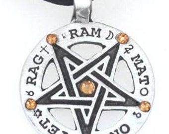 Pewter Inverted Pentagram Tetragrammaton Runes Pendant with Swarovski Crystal Gold Topaz NOVEMBER Birthstones (55C)