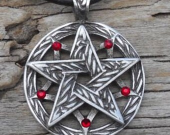 Pewter Double Pentagram Celtic Pagan Pentacle Pendant with Swarovski Crystal Red Garnet JANUARY Birthstone (56I)
