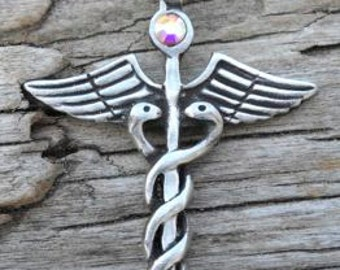 Pewter Caduceus Medical Nurse RN DR Snake Rod Pendant with Swarovski Crystal Aurora Borealis APRIL Birthstone (35A)