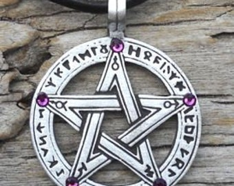 Pewter Pentagram Swarovski Crystal Pendant, Pagan Wiccan Pentacle with Runes and Purple Amethyst FEBRUARY Birthstone (50G)