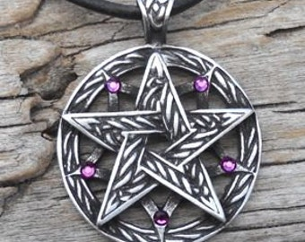 Pewter Double Pentagram Celtic Pagan Pentacle Pendant with Swarovski Crystal Purple Amethyst FEBRUARY Birthstone (56I)