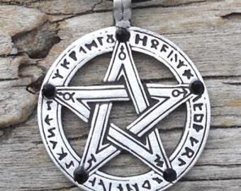 Pewter Pentagram Swarovski Black Onyx Crystal Pendant, Pagan Wiccan Gothic Pentacle with Runes (50G)