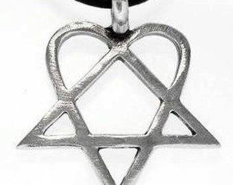 Heartagram Pendant HIM Pewter Necklace (317)