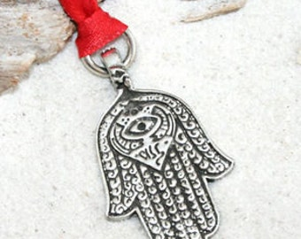 Pewter Hamsa Hand Egyptian Eye of Good Luck Fortune Love Health Christmas Ornament and Holiday Decoration (301)