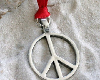 Pewter Peace Sign Love Hippie Yoga Namaste Meditation Christmas Ornament and Holiday Decoration (57G)