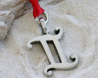 "Pewter Gemini ""The Twins"" Zodiac Astrology Sun Sign of May June Christmas Ornament and Holiday Decoration (27E)"