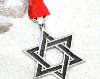 Pewter Star of David Hanukkah Jewish Christmas Ornament and Holiday Decoration (55J)