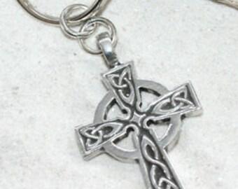 Pewter Celtic Cross Irish Wales Scotland England UK Keychain (300)