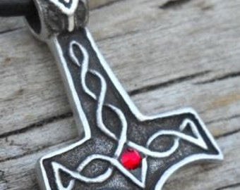 Pewter Thor's Hammer Mjolnir Norse Viking Pendant with Swarovski Crystal Ruby Red JULY Birthstone (39K)