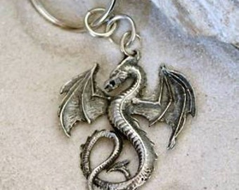 Pewter Dragon Gothic Fantasy Keychain Key Ring (52G-KC)